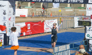 Elie Hirschfeld finishes the Israman Ironman Triathlon in Eilat, Israel